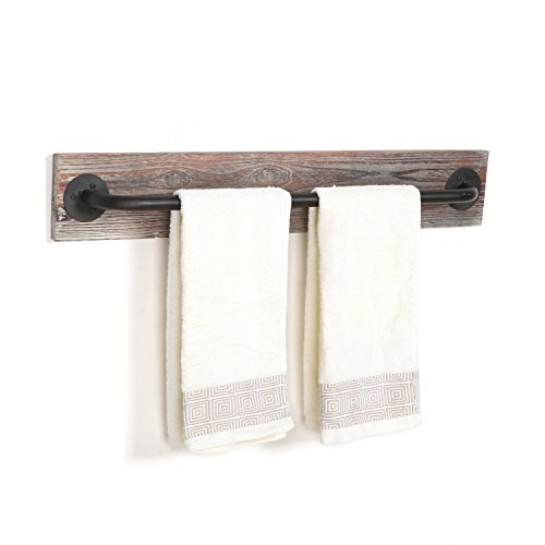 Torched Wood Amp Black Metal Hanging Towel Bar Wall